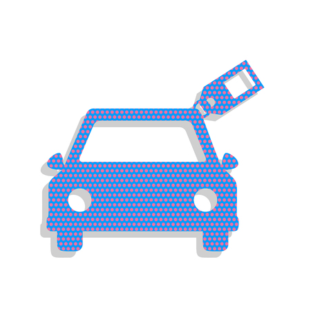 Car sign with tag. Neon blue icon with cyclamen polka dots pattern.