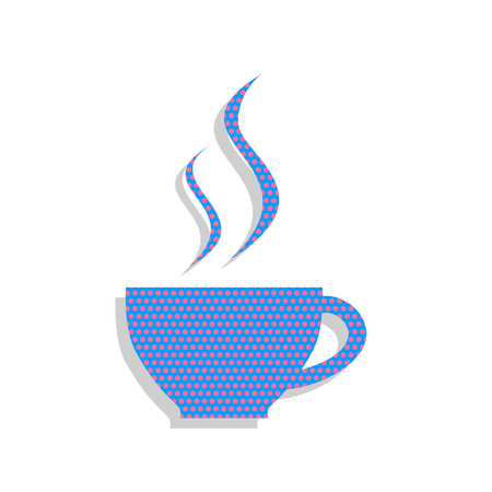 Cup sign with two small streams of smoke. Vector. Neon blue icon