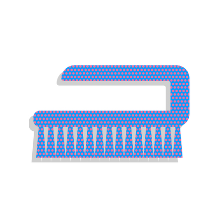 Cleaning brush hygiene tool sign. Neon blue icon with cyclamen polka dots pattern. Illustration