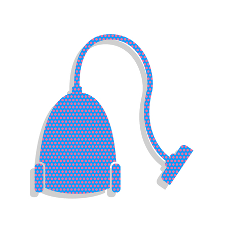 Vacuum Cleaner sign. Vector. Neon blue icon with cyclamen polka dots pattern with light gray shadow on white background. Isolated.