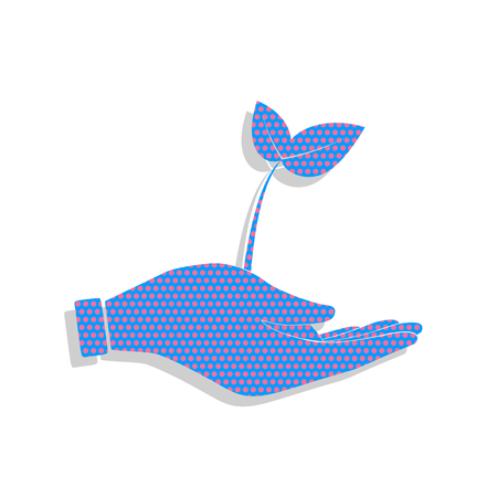 Sprout in a hand sign of environmental protection. Neon blue icon with cyclamen polka dots pattern.