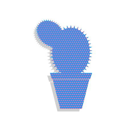 Cactus sign illustration. Neon blue icon with cyclamen polka dots pattern.