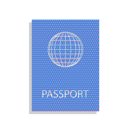 Passport sign illustration. Neon blue icon with cyclamen polka dots pattern.