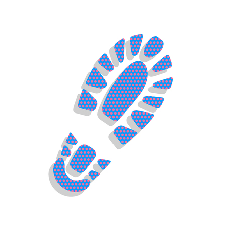 Footprint boot sign. Vector. Neon blue icon with cyclamen polka dots pattern with light gray shadow on white background. Isolated. Illustration