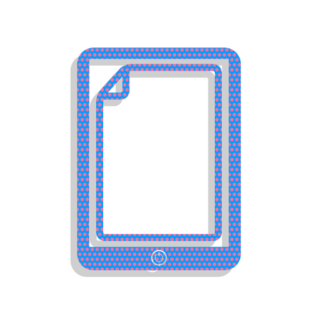 Protective sticker on the screen. Vector. Neon blue icon with cyclamen polka dots pattern with light gray shadow on white background. Isolated. Ilustrace