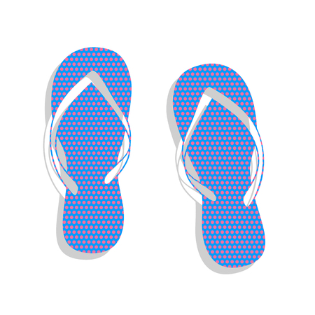 Flip flop sign. Vector. Neon blue icon with cyclamen polka dots