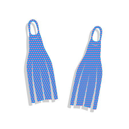 Diving flippers sign. Neon blue icon with cyclamen polka dots pattern. Illustration