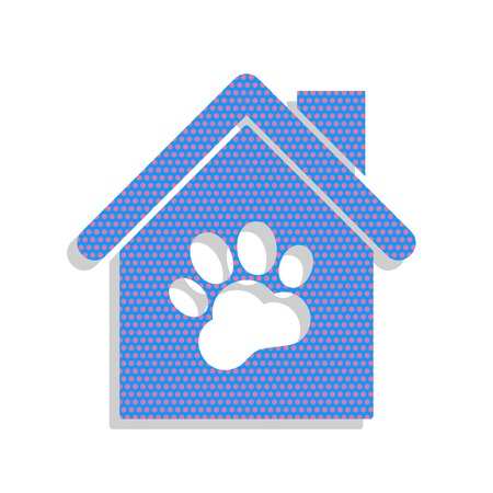 Pet shop, store building sign illustration. Vector. Neon blue icon with cyclamen polka dots pattern with light gray shadow on white background. Isolated.