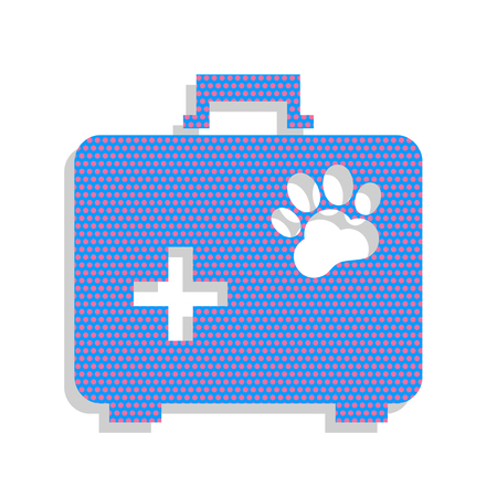 Pet shop sign illustration. Neon blue icon with cyclamen polka dots pattern.