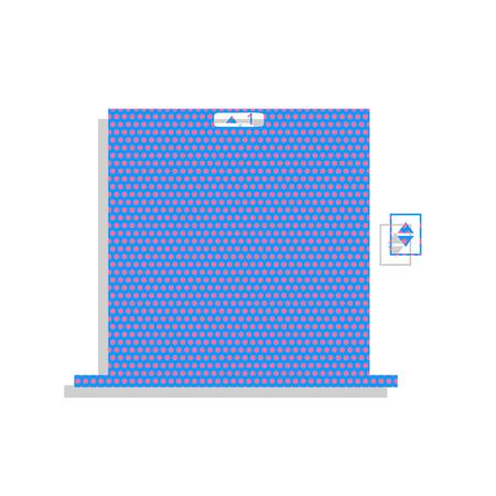 Elevators door sign. Vector. Neon blue icon with cyclamen polka