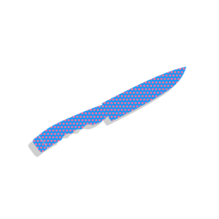 Knife sign. Vector. Neon blue icon with cyclamen polka dots pattern with light gray shadow on white background. Isolated. Illustration