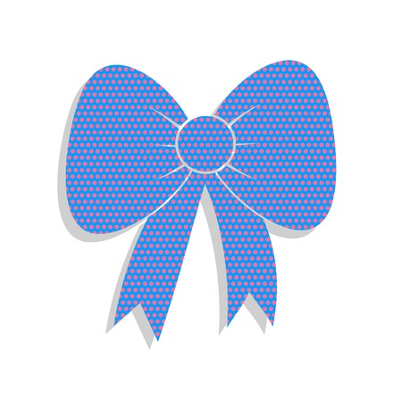 Bow sign illustration. Vector. Neon blue icon with cyclamen polka dots pattern with light gray shadow on white background. Isolated.