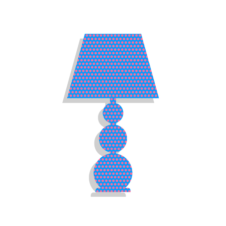 Lamp sign illustration. Vector. Neon blue icon with cyclamen polka dots pattern with light gray shadow on white background. Isolated. Ilustracja