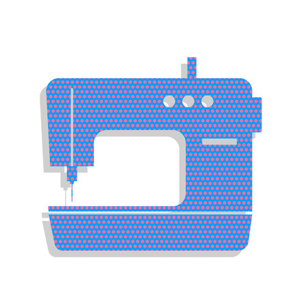 Sewing machine sign. Vector. Neon blue icon with cyclamen polka dots pattern with light gray shadow on white background. Isolated.