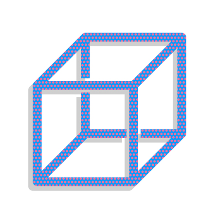 Wired cube sign with visisble ribs. Vector. Neon blue icon with cyclamen polka dots pattern with light gray shadow on white background. Isolated.