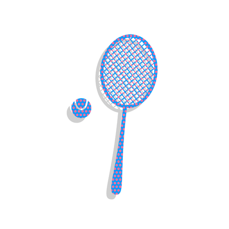 Tennis racquet with ball sign. Vector. Neon blue icon with cyclamen polka dots pattern with light gray shadow on white background. Isolated. Illustration