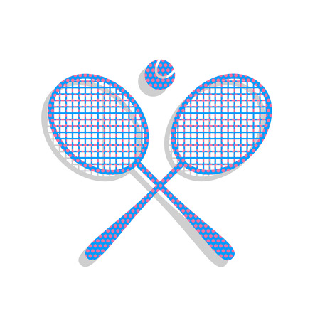 Two tennis racket with ball sign. Vector. Neon blue icon with cyclamen polka dots pattern with light gray shadow on white background. Isolated. Illustration