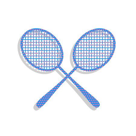 Two tennis racket sign. Vector. Neon blue icon with cyclamen polka dots pattern with light gray shadow on white background. Isolated.