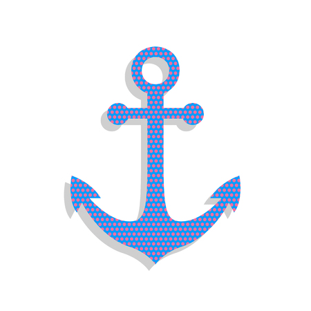Anchor icon. Vector. Neon blue icon with cyclamen polka dots pattern with light gray shadow on white background. Isolated. Ilustracja
