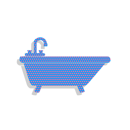 Bathtub sign illustration. Vector. Neon blue icon with cyclamen polka dots pattern with light gray shadow on white background. Isolated. Vettoriali