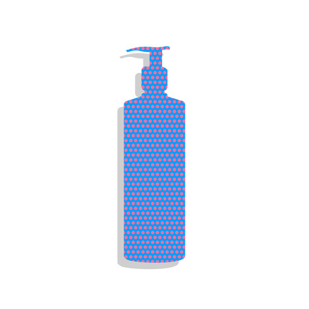 Gel, Foam Or Liquid Soap. Dispenser Pump Plastic Bottle silhouette. Vector. Neon blue icon with cyclamen polka dots pattern with light gray shadow on white background. Isolated. Illustration