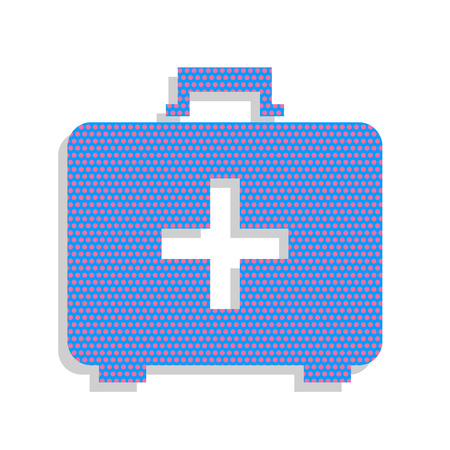 Medical First aid box sign. Vector. Neon blue icon with cyclamen polka dots pattern with light gray shadow on white background. Isolated.