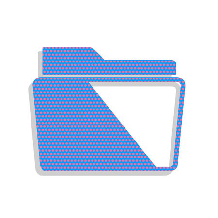 Folder sign illustration. Vector. Neon blue icon with cyclamen polka dots pattern with light gray shadow on white background. Isolated.