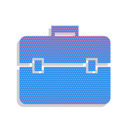 Briefcase sign illustration. Vector. Neon blue icon with cyclamen polka dots pattern with light gray shadow on white background. Isolated.