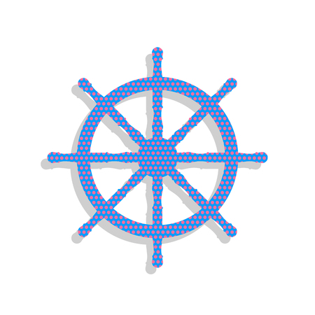 Ship wheel sign. Vector. Neon blue icon with cyclamen polka dots pattern with light gray shadow on white background. Isolated. Illustration