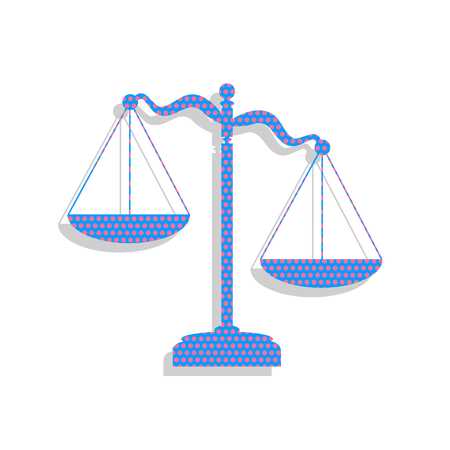 Scales of Justice sign. Vector. Neon blue icon with cyclamen polka dots pattern with light gray shadow on white background. Isolated.