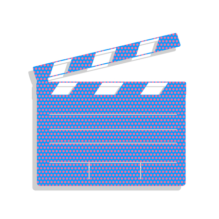Film clap board cinema sign. Vector. Neon blue icon with cyclamen polka dots pattern with light gray shadow on white background. Isolated. Illustration