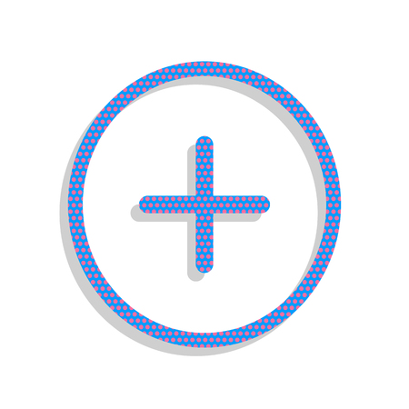 Positive symbol plus sign. Vector. Neon blue icon with cyclamen polka dots pattern with light gray shadow on white background. Isolated. Ilustracja