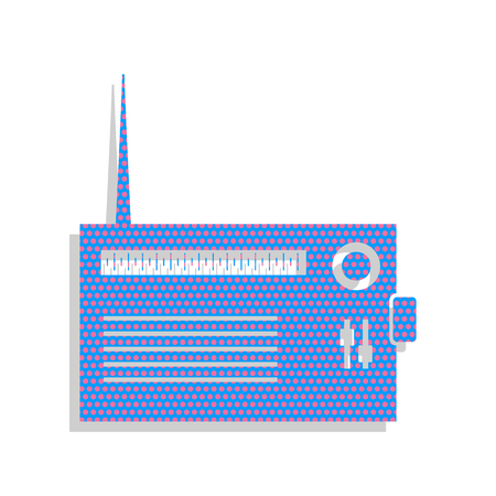 Radio sign illustration. Vector. Neon blue icon with cyclamen polka dots pattern with light gray shadow on white background. Isolated.