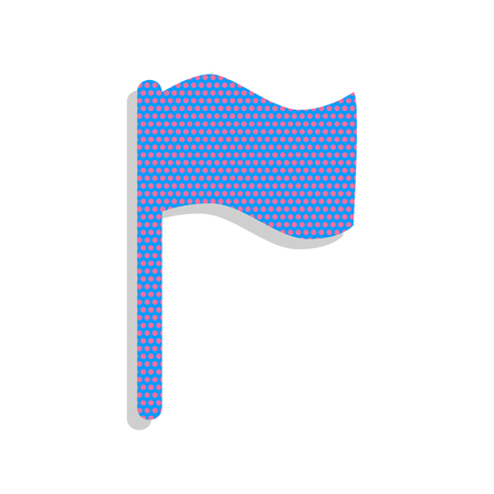 Flag sign illustration. Vector. Neon blue icon with cyclamen polka dots pattern with light gray shadow on white background. Isolated. Ilustracja