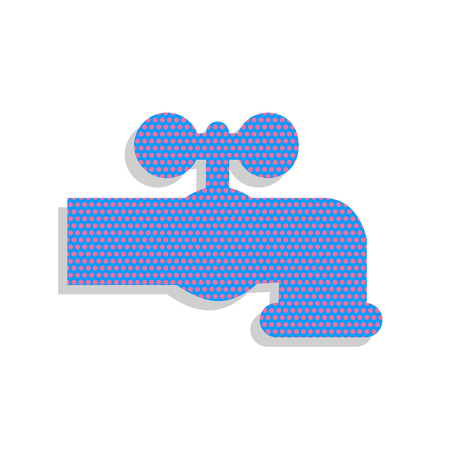 Water faucet sign illustration. Vector. Neon blue icon with cyclamen polka dots pattern with light gray shadow on white background. Isolated. Illustration