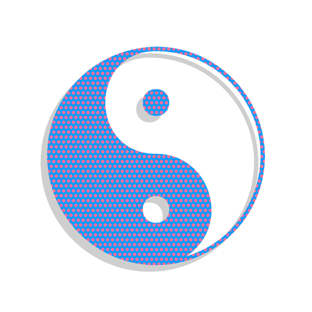 Ying yang symbol of harmony and balance. Vector. Neon blue icon with cyclamen polka dots pattern with light gray shadow on white background. Isolated.