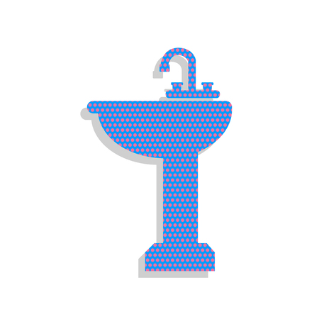 Bathroom sink sign. Vector. Neon blue icon with cyclamen polka dots pattern with light gray shadow on white background. Isolated.