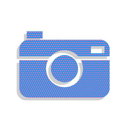 Digital photo camera sign. Vector. Neon blue icon with cyclamen