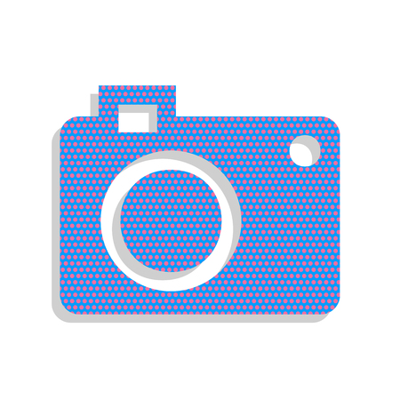 Digital camera sign. Vector. Neon blue icon with cyclamen polka