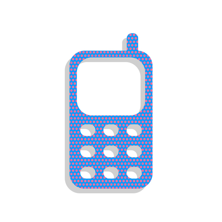 Cell Phone sign. Vector. Neon blue icon with cyclamen polka dots Illustration