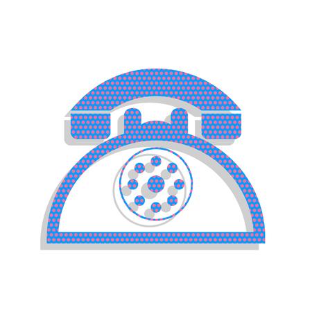 Retro telephone sign. Vector. Neon blue icon with cyclamen polka 일러스트