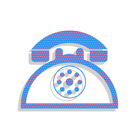 Retro telephone sign. Vector. Neon blue icon with cyclamen polka Ilustração