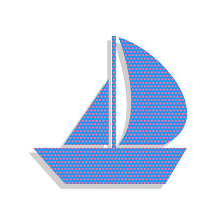 Sail Boat sign. Vector. Neon blue icon with cyclamen polka dots Illustration