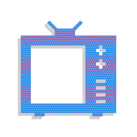 TV sign illustration. Vector. Neon blue icon with cyclamen polka