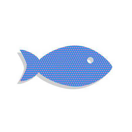 Fish sign illustration. Vector. Neon blue icon with cyclamen pol Ilustracja