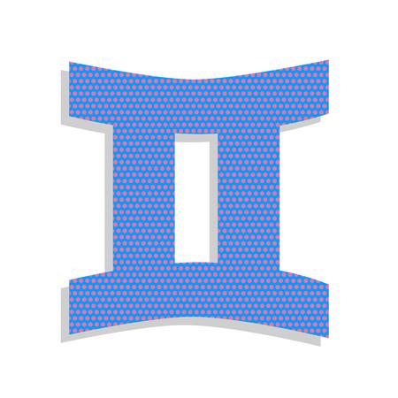 Gemini sign. Vector. Neon blue icon with cyclamen polka dots pat 일러스트