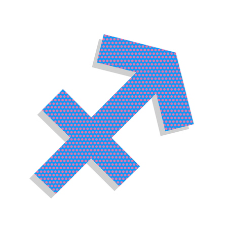 Sagittarius sign illustration. Vector. Neon blue icon with cycla