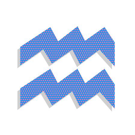 Aquarius sign illustration. Vector. Neon blue icon with cyclamen