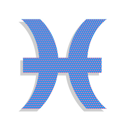 Pisces sign illustration. Vector. Neon blue icon with cyclamen p