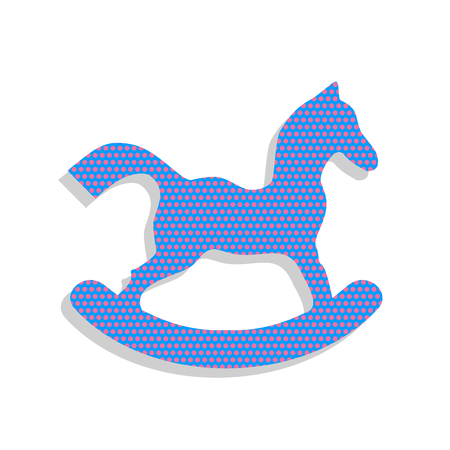 Horse toy sign. Vector. Neon blue icon with cyclamen polka dots Illustration